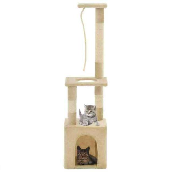 Vidaxl albero per gatti con tiragraffi in sisal 109 cm beige