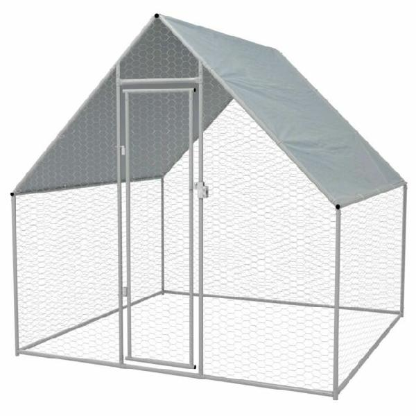 Vidaxl gabbia per polli da esterno in acciaio zincato 2x2x2