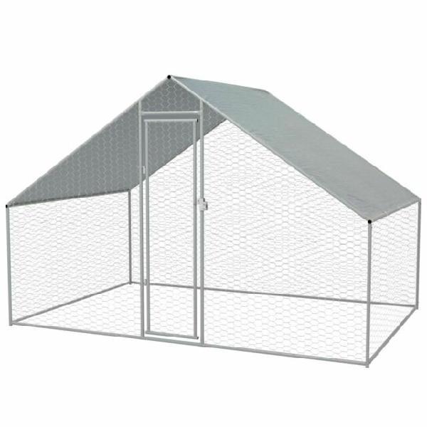 Vidaxl gabbia per polli da esterno in acciaio zincato 3x2x2