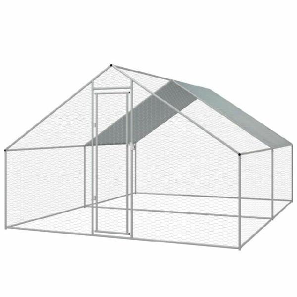 Vidaxl gabbia per polli da esterno in acciaio zincato 3x4x2