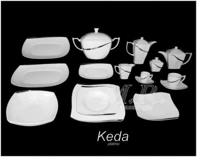 Servizio piatti porcellana bone china keda platino 100 pz.