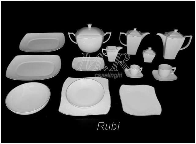 Servizio tavola piatti porcellana bone china rubi platinum