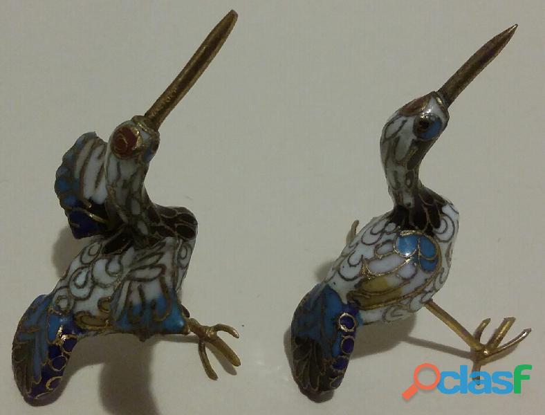 Due uccellini gru in miniatura in autentico cloisonne vintage anni '90 perfetti