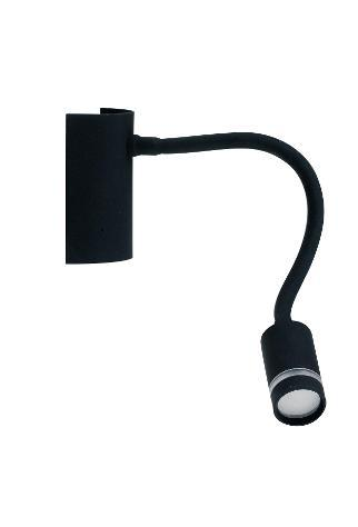 Applique lampada da lettura flessibile silicone nero moderna