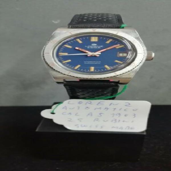 Lorenz acciaio cinturino nero rosso orologio vintage