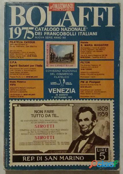BOLAFFI 1975. CATALOGO NAZIONALE DEI FRANCOBOLLI ITALIANI NOVA SERIE ANNO XX PERFETTO