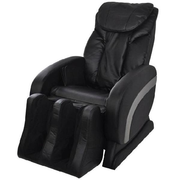 Vidaxl poltrona elettrica massaggiante in similpelle nera