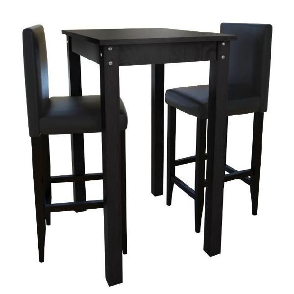 Vidaxl set tavolino da bar con 2 sgabelli neri