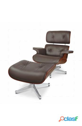 Black Eames armchair in real leather...