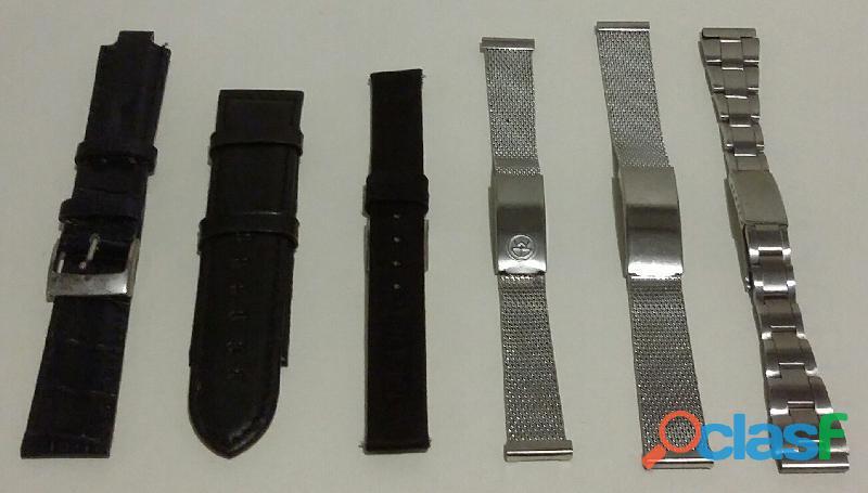 Stok di 6 cinturini per orologi: 3 in metallo e 3 in pelle nuovi