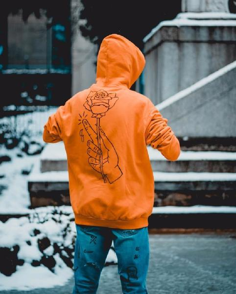 felpa arancione adidas uomo