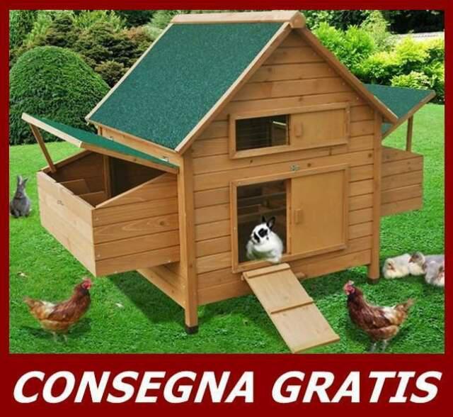 Pollaio a casetta per galline ovaiole in legno da giardino