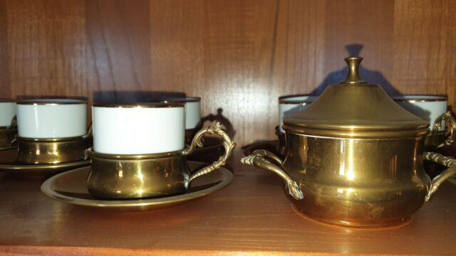 Servizio tazzine caffe porcellana e ottone