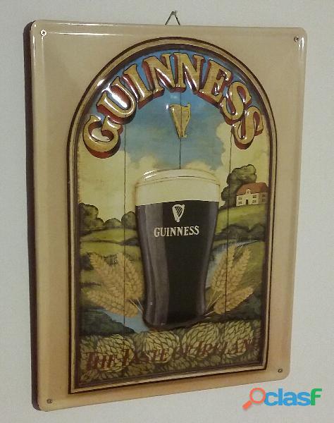 Targa in Metallo nostalgico Guinness Taste of Ireland birreria con sostegno in legno nuova