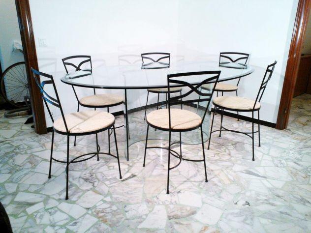 Prezioso tavolo di cristallo ovale 200x125 con 6 sedie in