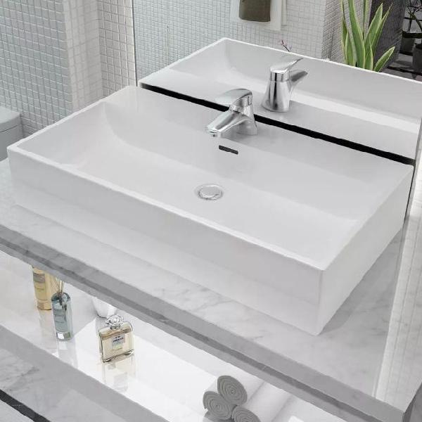 Vidaxl lavandino con foro rubinetto in ceramica bianca