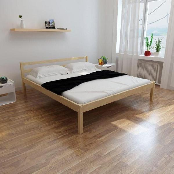 Vidaxl letto in legno di pino 180 cm + materasso memoria +