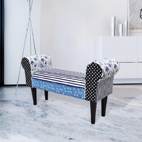 Vidaxl panchina trapuntata in stile rustico blu & bianca