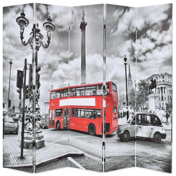 Vidaxl paravento pieghevole 200x180 cm stampa bus londra