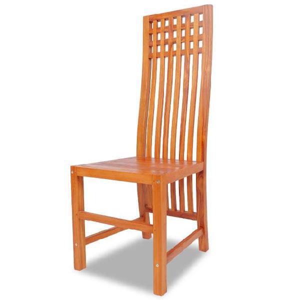 Vidaxl sedia sala da pranzo in legno massello di teak