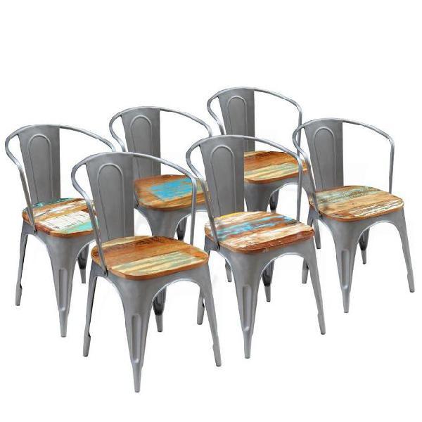 Vidaxl sedie sala da pranzo 6 pz legno massello riciclato