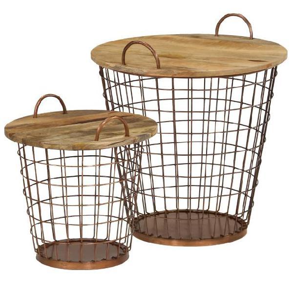 Vidaxl set tavolini da caffè 2 pz in legno massello di