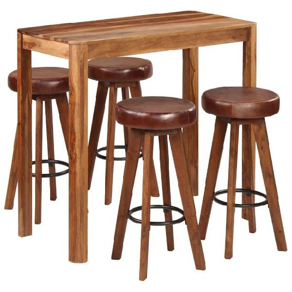 Vidaxl set da bar 5 pz in legno massello di sheesham