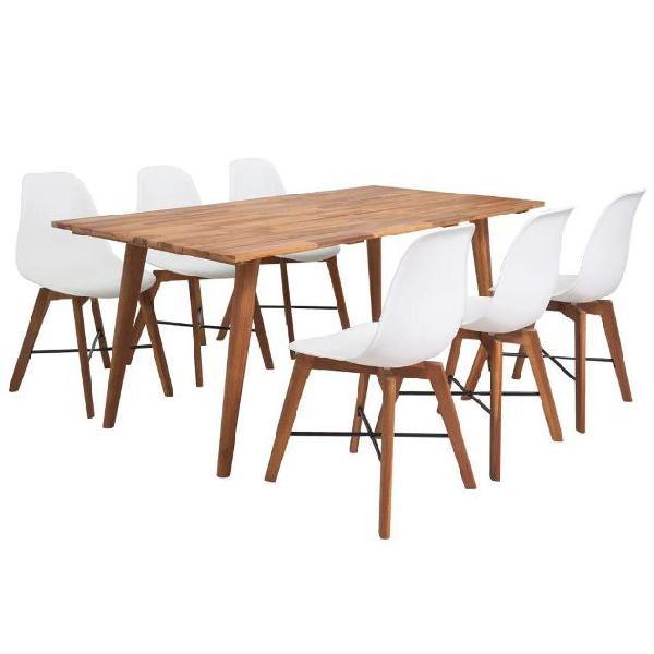 Vidaxl set da pranzo in legno massello di acacia sette pezzi