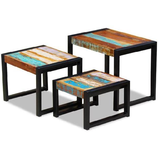 Vidaxl tavolini ad incastro 3 pz in legno massello anticato