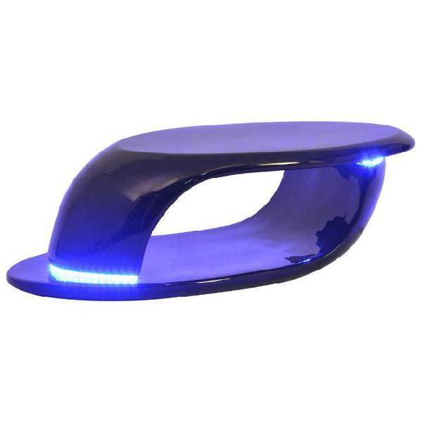 Vidaxl tavolino da caffè con luci led in vetroresina nero