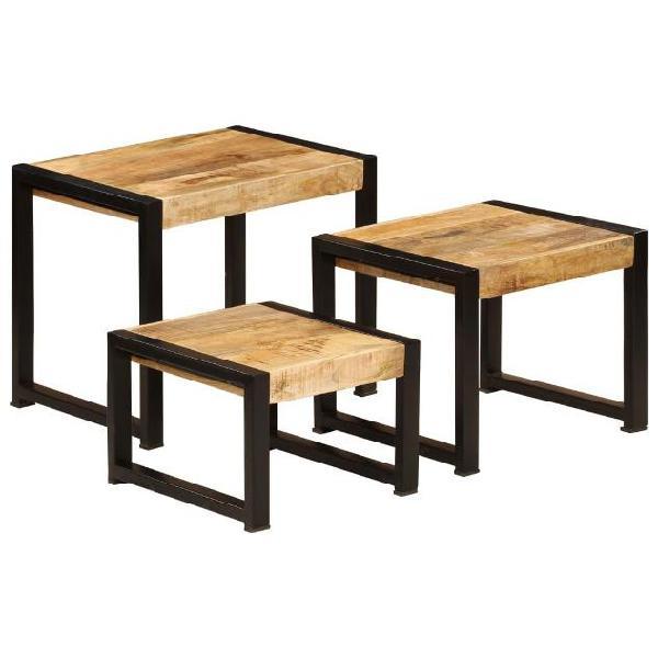 Vidaxl tavolini impilabili 3 pz in legno massello di mango