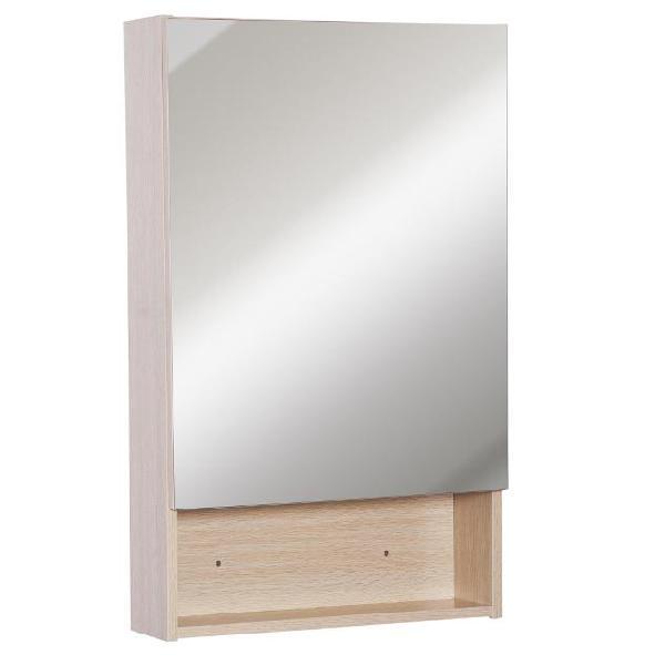 Specchio armadietto da bagno pensile ripiano in legno