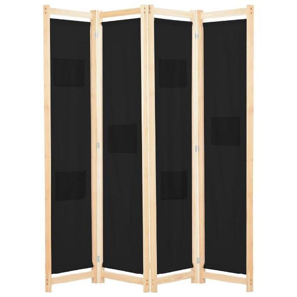Vidaxl divisorio a 4 pannelli nero 160x170x4 cm in tessuto