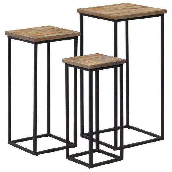 Vidaxl set tavolini per piante 3 pz in legno di teak