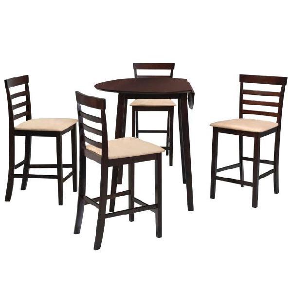 Vidaxl set tavolo da bar e sedie 5 pz legno massello marrone
