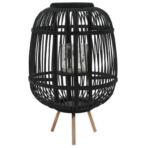 Vidaxl supporto per lanterna da tavolo in bambù nero