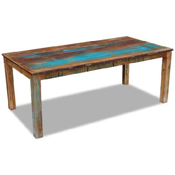 Vidaxl tavolo da pranzo in legno massello anticato
