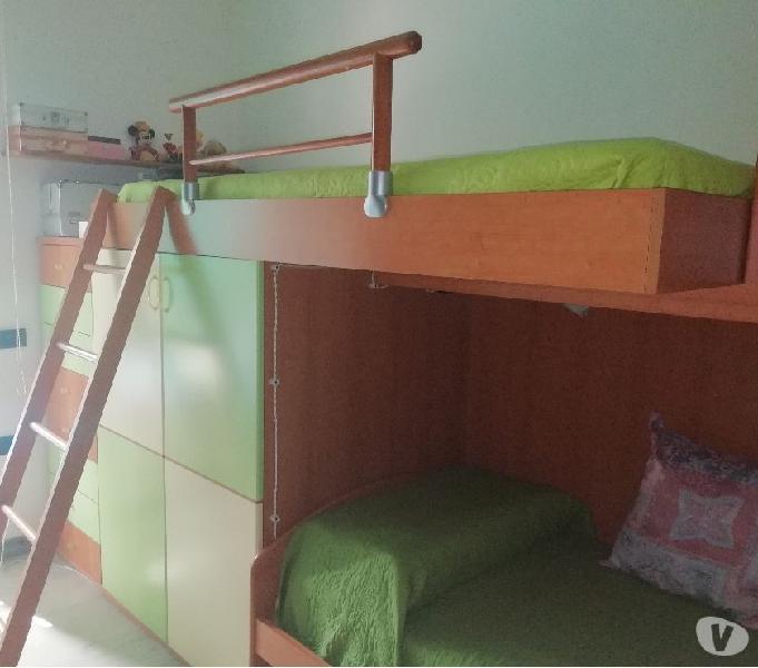 Cameretta a ponte in legno + scrivania e sedia