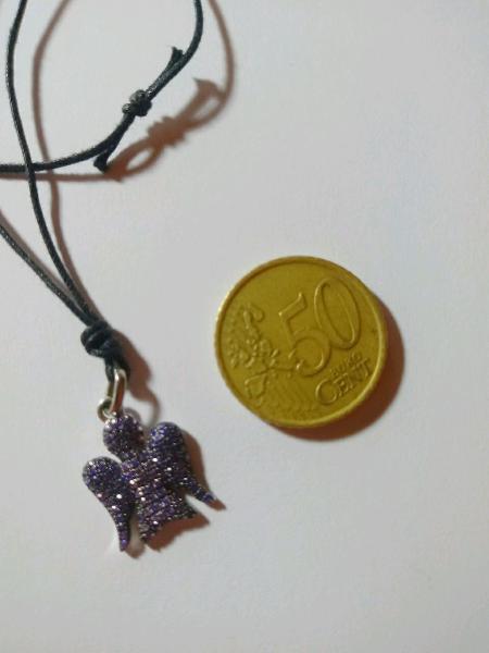 COLLANA con CIONDOLO TARTARUGA color bronzo con brillantini colorati