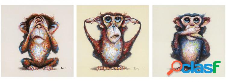 3 quadri moderni scimmiette non vedo sento parlo