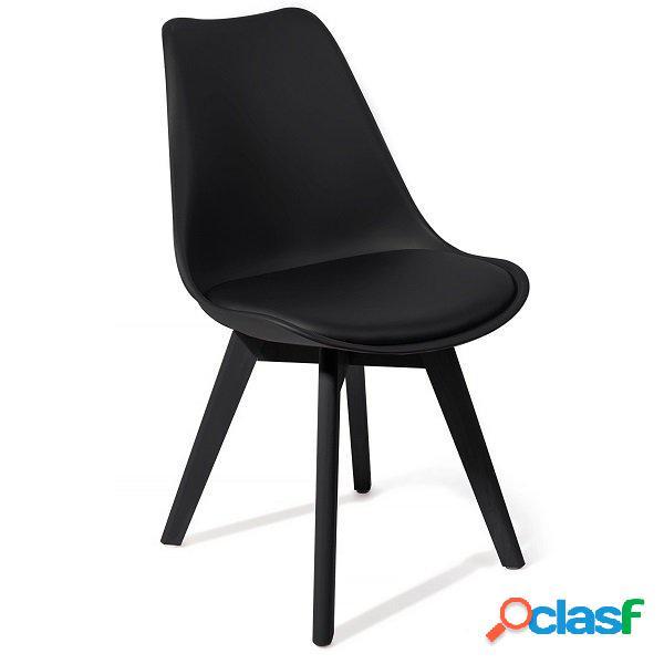 4 Sedie Moderne Total Black Polipropilene seduta Imbottita