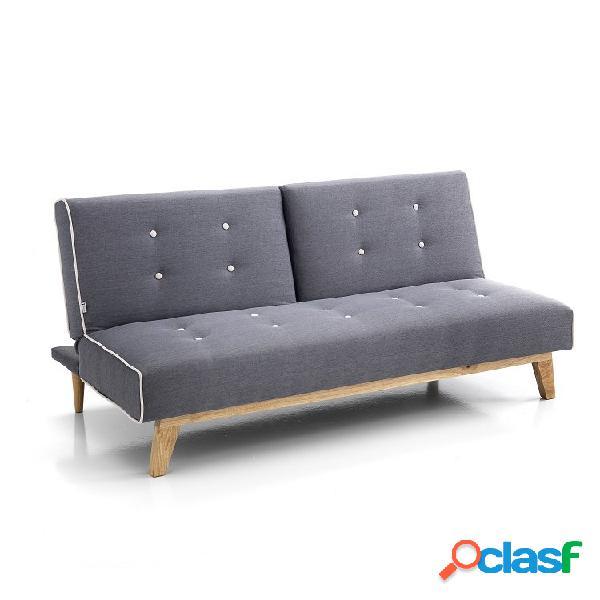 Divano letto da 106 cm colore grigio con bottoncini