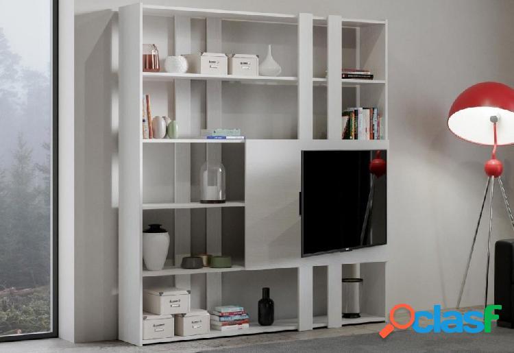 Libreria Porta Tv Parete Attrezzata Bianco Frassino