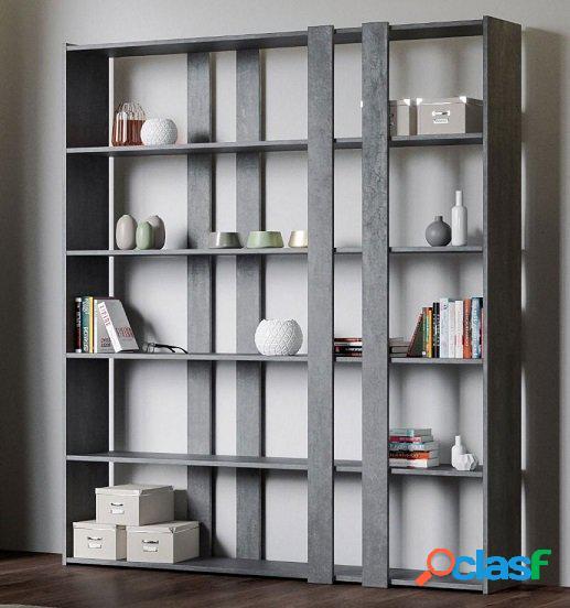 Libreria Scaffale Moderno Parete Attrezzata Finitura Cemento