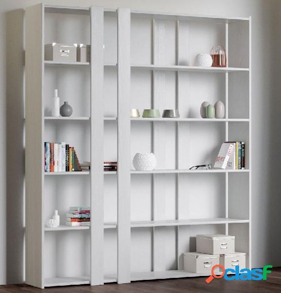 Libreria Scaffale Parete Attrezzata Bianco Frassino Moderna
