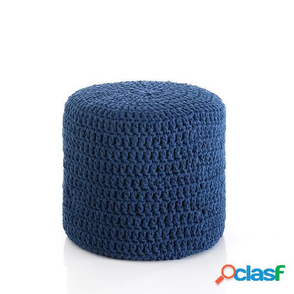 Pouf Morbido Tondo in Cotone Lavorazione a Maglia Blu