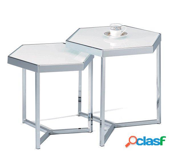 Set di 2 Tavolini Esagonali in Vetro Bianco da Salotto