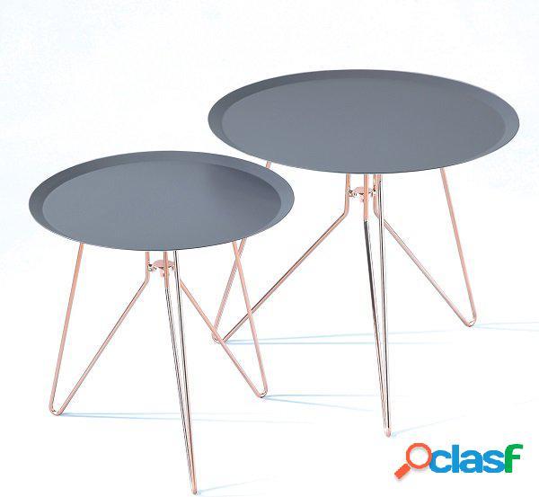 Set di 2 Tavolini Tondi Antracite con Zampe color Rame