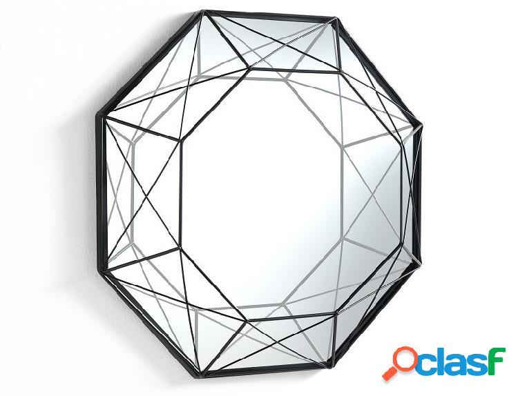 Specchio da Parete Diamante Ottagonale in Metallo