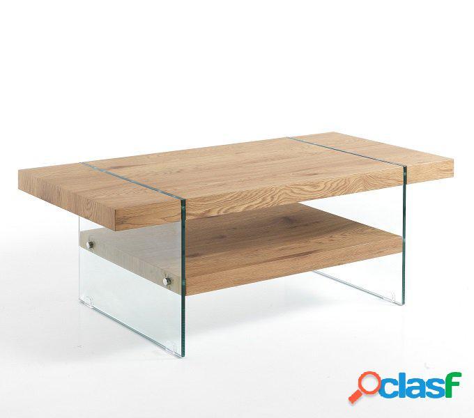 Tavolino Rettangolare in Legno e Vetro con Ripiano